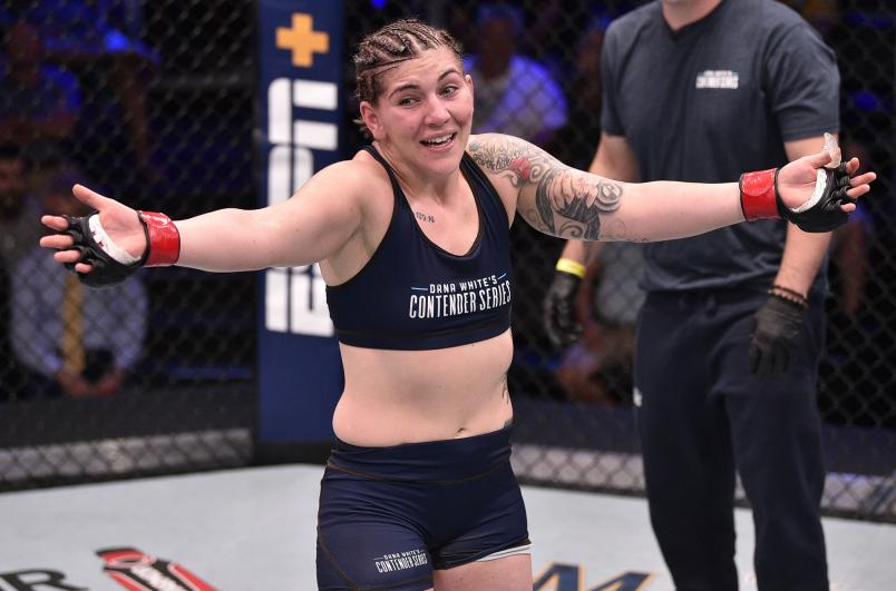 Sarah Alpar celebrates after her submission victory over Shanna Young in their bantamweight bout during Dana White's Contender Series week 8 at the UFC Apex on August 13, 2019 in Las Vegas, Nevada. (Photo by Chris Unger/DWCS LLC/Zuffa LLC)