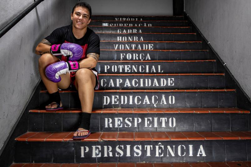 "Brazilian MMA athlete Jessica Andrade ""Bate Estaca"" of PRTV team poses for a photo during a training session amidst the coronavirus (COVID-19) pandemic at PRVT - Parana Vale Tudo gym on August 7, 2020 in Niteroi, Brazil. Andrade competes in the strawweight division and is the first Brazilian woman to fight for the UFC, currently #2 in the UFC women's strawweight rankings. (Photo by Buda Mendes/Getty Images)"