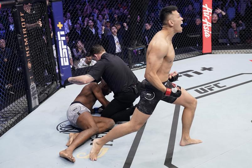 Da-un Jung of South Korea celebrates after knocking out Mike Rodriguez in their light heavyweight fight during the UFC Fight Night event at Sajik Arena 3 on December 21, 2019 in Busan, South Korea. (Photo by Jeff Bottari/Zuffa LLC)