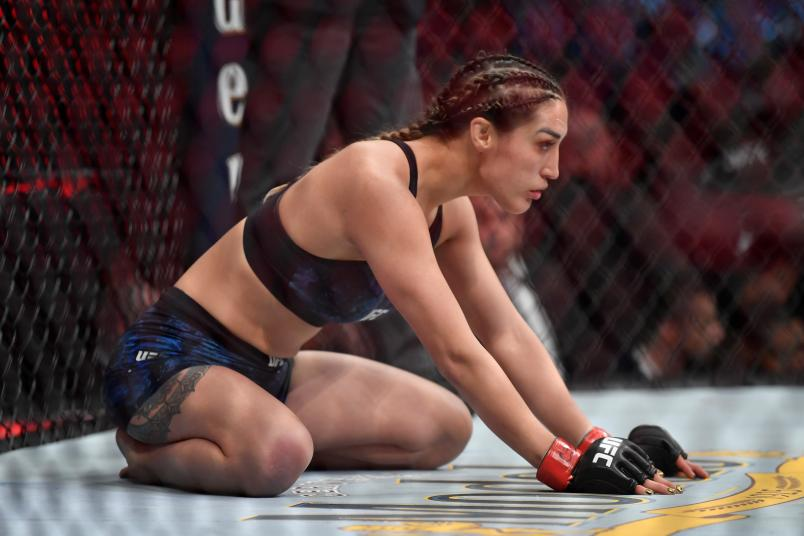 CHICAGO, IL - JUNE 08: Tatiana Suarez waits in her corner prior to her women's strawweight bout against Nina Ansaroff during the UFC 238 event at the United Center on June 8, 2019 in Chicago, Illinois. (Photo by Jeff Bottari/Zuffa LLC/Zuffa LLC via Getty Images)