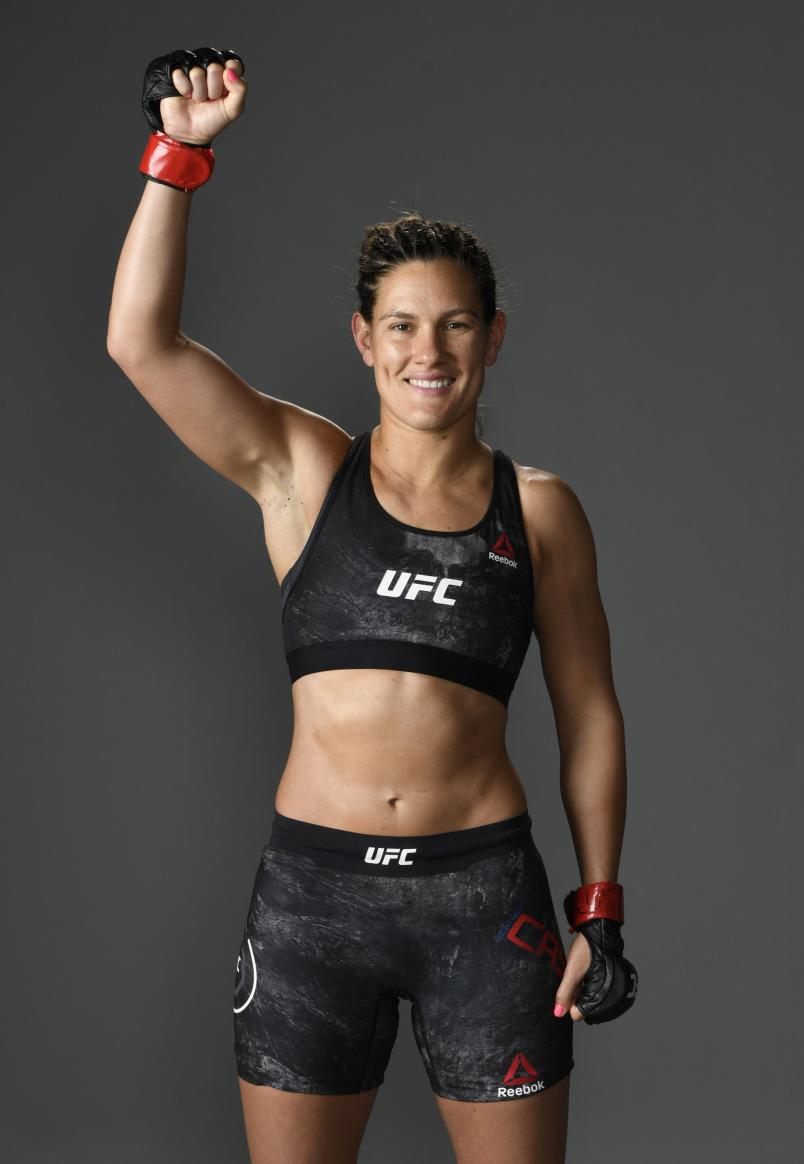 Cortney Casey poses for a portrait backstage after her victory during the UFC fight night event at VyStar Veterans Memorial Arena on May 16, 2020 in Jacksonville, Florida. (Photo by Mike Roach/Zuffa LLC)