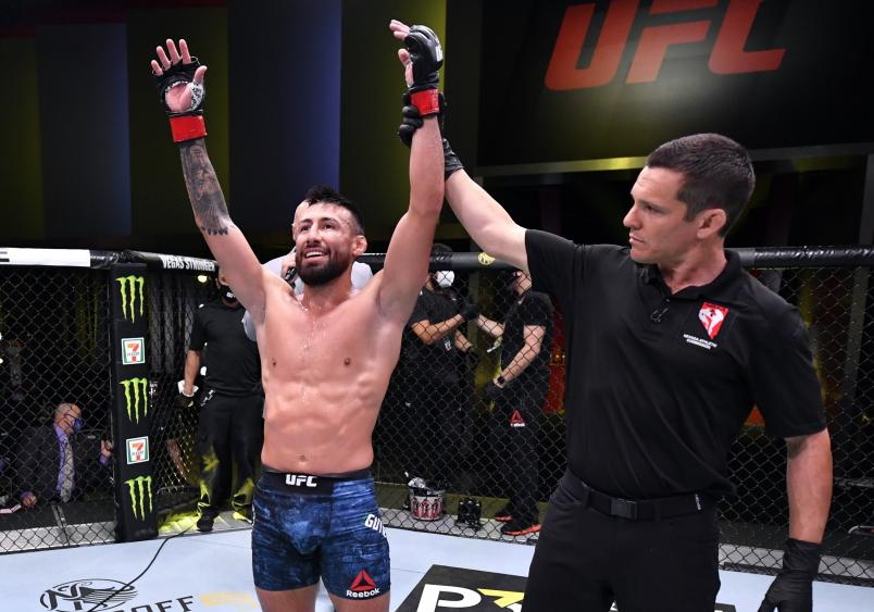 Chris Gutierrez celebrates after his TKO victory over Vince Morales in their featherweight fight during the UFC Fight Night event at UFC APEX on May 30, 2020 in Las Vegas, Nevada. (Photo by Jeff Bottari/Zuffa LLC)