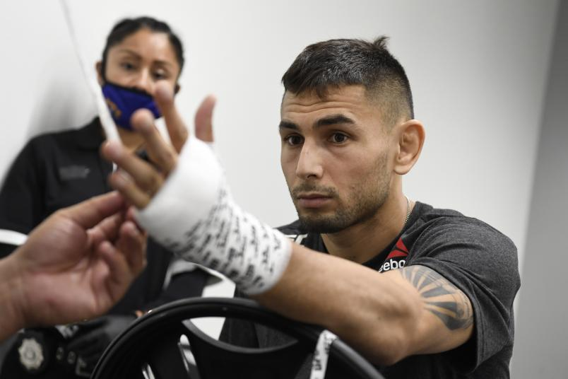 Alex Perez has his hands wrapped backstage during the UFC 250 event at UFC APEX on June 06, 2020 in Las Vegas, Nevada. (Photo by Mike Roach/Zuffa LLC)