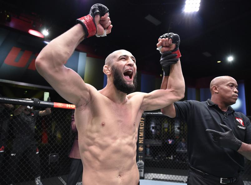 Khamzat Chimaev of Chechnya celebrates after his knockout victory over Gerald Meerschaert in their middleweight bout during the UFC Fight Night event at UFC APEX on September 19, 2020 in Las Vegas, Nevada. (Photo by Chris Unger/Zuffa LLC)