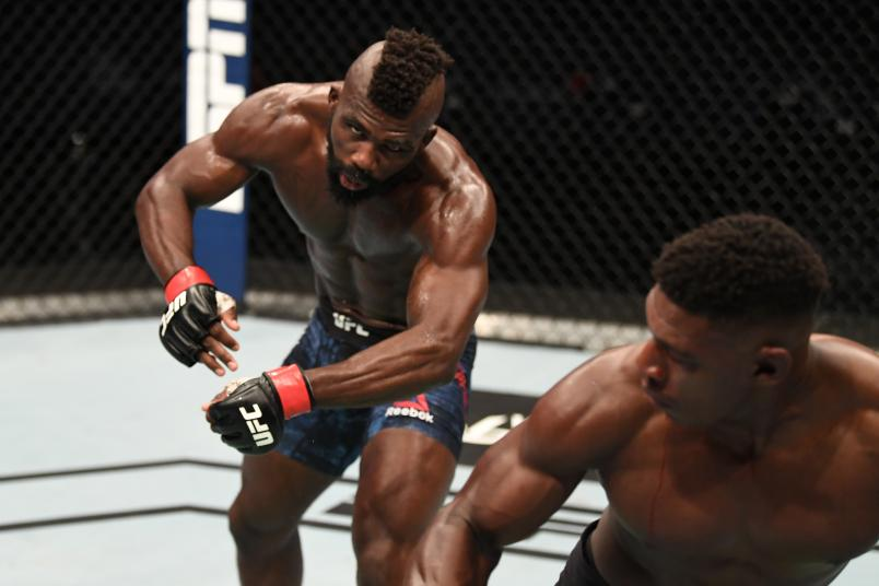 Joaquin Buckley knocks out Impa Kasanganay in their middleweight bout during the UFC Fight Night event inside Flash Forum on UFC Fight Island on October 11, 2020 in Abu Dhabi, United Arab Emirates. (Photo by Josh Hedges/Zuffa LLC via Getty Images)