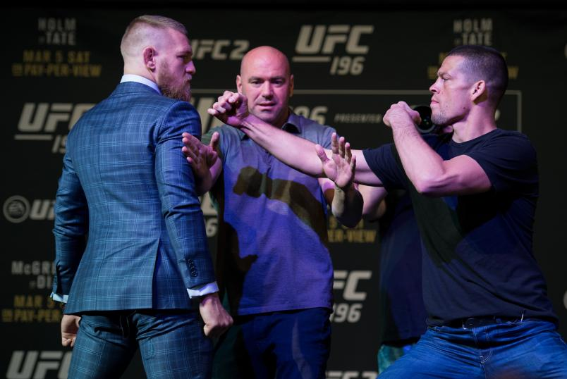 LAS VEGAS, NV - MARCH 3: (L-R) UFC featherweight champion Conor McGregor and Nate Diaz face off during the UFC 196 Press Conference at David Copperfield Theater in the MGM Grand Hotel/Casino on March 3, 2016 in Las Vegas, Nevada. (Photo by Brandon Magnus/Zuffa LLC/Zuffa LLC via Getty Images)