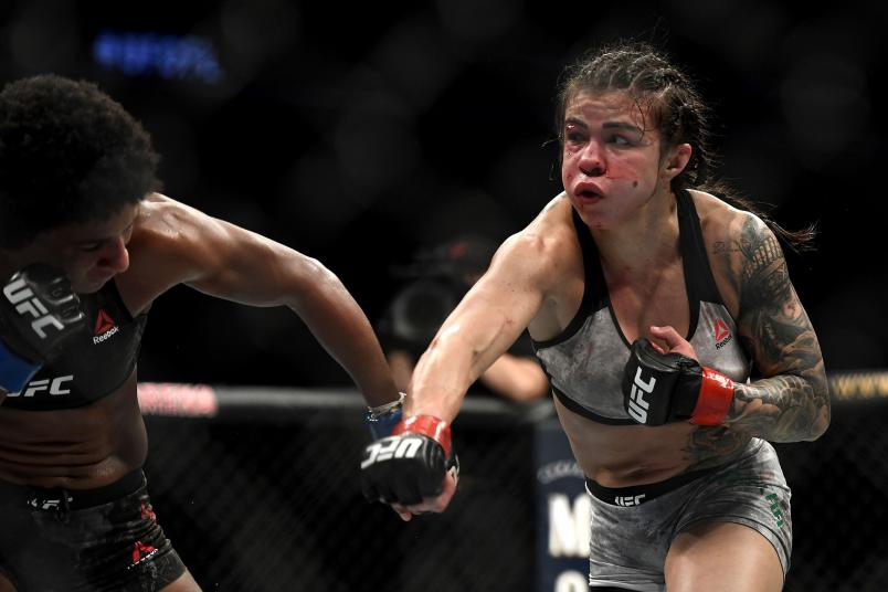 Claudia Gadelha (R) of Brazil fights Angela Hill (L) of the United States in their Women's Strawweight bout during UFC Fight Night at VyStar Veterans Memorial Arena on May 16, 2020 in Jacksonville, Florida. (Photo by Douglas P. DeFelice/Getty Images)