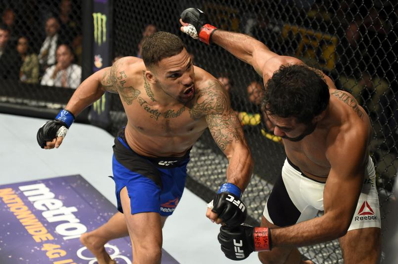 Eryk Anders punches Rafael Natal of Brazil in their middleweight bout during the UFC Fight Night event inside the Nassau Veterans Memorial Coliseum on July 22, 2017 in Uniondale, New York. (Photo by Josh Hedges/Zuffa LLC)