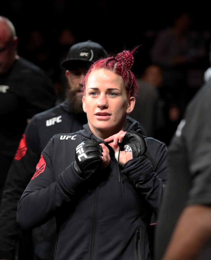 Gina Mazany prepares to enter the octagon in her women's bantamweight bout during the UFC 235 event at T-Mobile Arena on March 2, 2019 in Las Vegas, Nevada. (Photo by Christian Petersen/Zuffa LLC/Zuffa LLC)