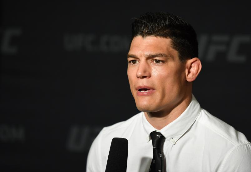 Alan Jouban interacts with the media during the UFC 236 Ultimate Media Day at Hyatt Regency Atlanta on April 11, 2019 in Atlanta, Georgia. (Photo by Josh Hedges/Zuffa LLC via Getty Images)