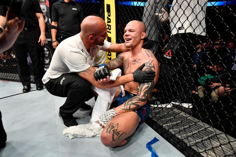 Anthony Smith celebrates his submission victory over Alexander Gustafsson of Sweden in their light heavyweight bout during the UFC Fight Night event at Ericsson Globe on June 1, 2019 in Stockholm, Sweden. (Photo by Jeff Bottari/Zuffa LLC/Zuffa LLC via Getty Images)