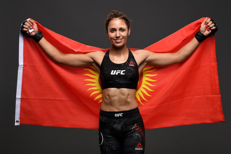 Antonina Shevchenko of Kyrgyzstan poses for a portrait backstage during the UFC Fight Night event at the Prudential Center on August 3, 2019 in Newark, New Jersey. (Photo by Mike Roach/Zuffa LLC via Getty Images)