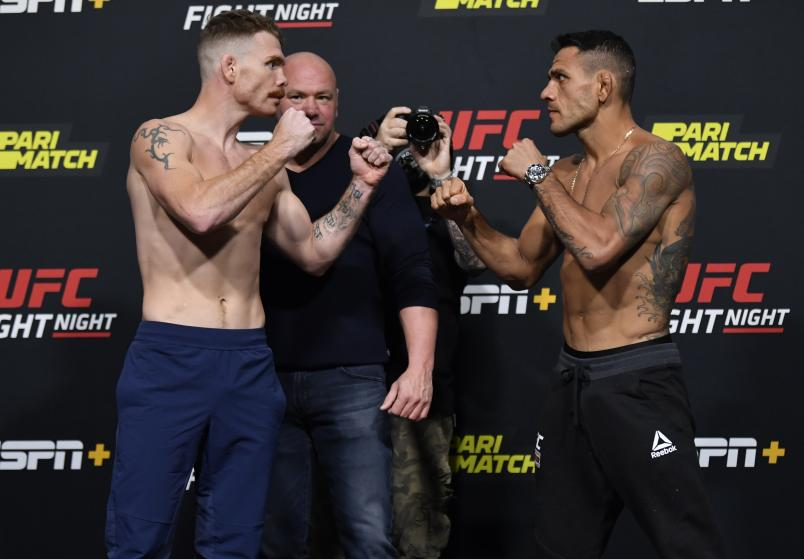 Paul Felder and Rafael Dos Anjos of Brazil face off during the UFC weigh-in at UFC APEX on November 13, 2020 in Las Vegas, Nevada. (Photo by Jeff Bottari/Zuffa LLC via Getty Images)