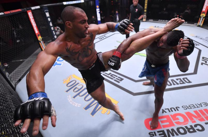Devin Clark kicks Alonzo Menifield in their light heavyweight bout during the UFC 250 event at UFC APEX on June 06, 2020 in Las Vegas, Nevada. (Photo by Jeff Bottari/Zuffa LLC)
