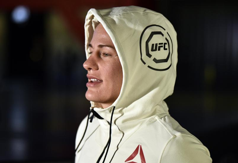 Gina Mazany prepares to fight Julia Avila in their bantamweight fight during the UFC Fight Night event at UFC APEX on June 13, 2020 in Las Vegas, Nevada. (Photo by Chris Unger/Zuffa LLC)