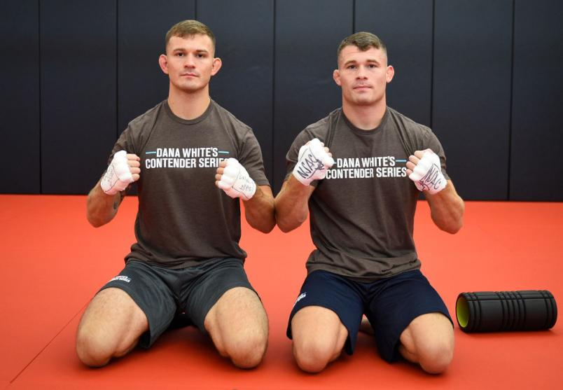 LAS VEGAS, NEVADA - AUGUST 18: (L-R) Brothers Orion Cosce and Louis Cosce warm up prior to their fights during week three of Dana White's Contender Series Season 4 at UFC APEX on August 18, 2020 in Las Vegas, Nevada. (Photo by Chris Unger/DWCS LLC)