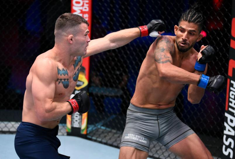 LAS VEGAS, NEVADA - AUGUST 18: (L-R) Louis Cosce punches Victor Reyna in a welterweight bout during week three of Dana White's Contender Series Season 4 at UFC APEX on August 18, 2020 in Las Vegas, Nevada. (Photo by Chris Unger/DWCS LLC)