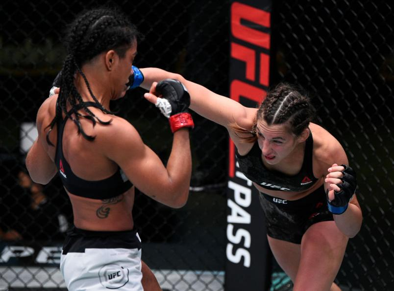 LAS VEGAS, NEVADA - SEPTEMBER 05: (R-L) Montana De La Rosa punches Viviane Araujo of Brazil in a flyweight fight during the UFC Fight Night event at UFC APEX on September 05, 2020 in Las Vegas, Nevada. (Photo by Chris Unger/Zuffa LLC)