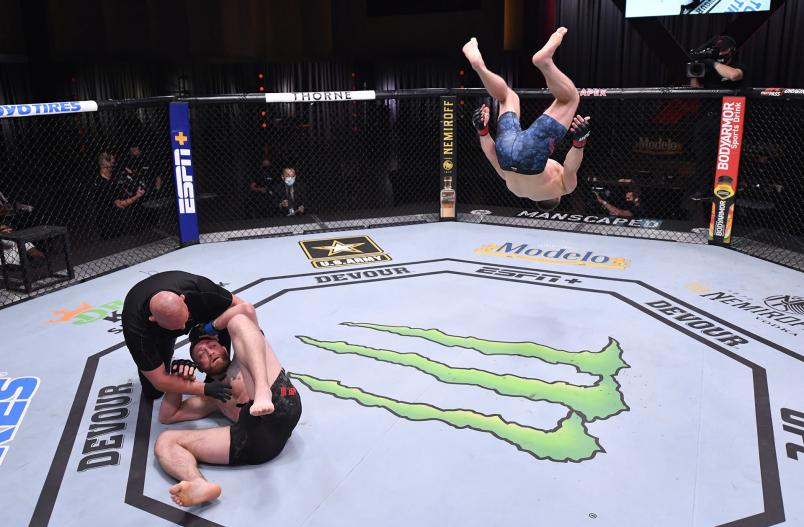 Ian Heinisch celebrates after his knockout victory over Gerald Meerschaert in their middleweight bout during the UFC 250 event at UFC APEX on June 06, 2020 in Las Vegas, Nevada. (Photo by Jeff Bottari/Zuffa LLC)
