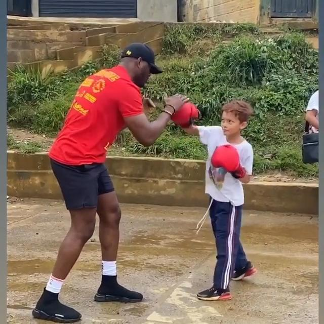 Welterweight Champ Kamaru Usman at the boxing club, from Renee Edgar's Instagram @reneeedgar