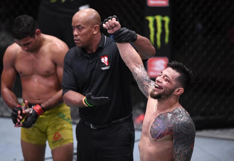 Daniel Pineda reacts after his TKO victory over Herbert Burns in their featherweight bout during the UFC 252 event at UFC APEX on August 15, 2020 in Las Vegas, Nevada. (Photo by Chris Unger/Zuffa LLC)