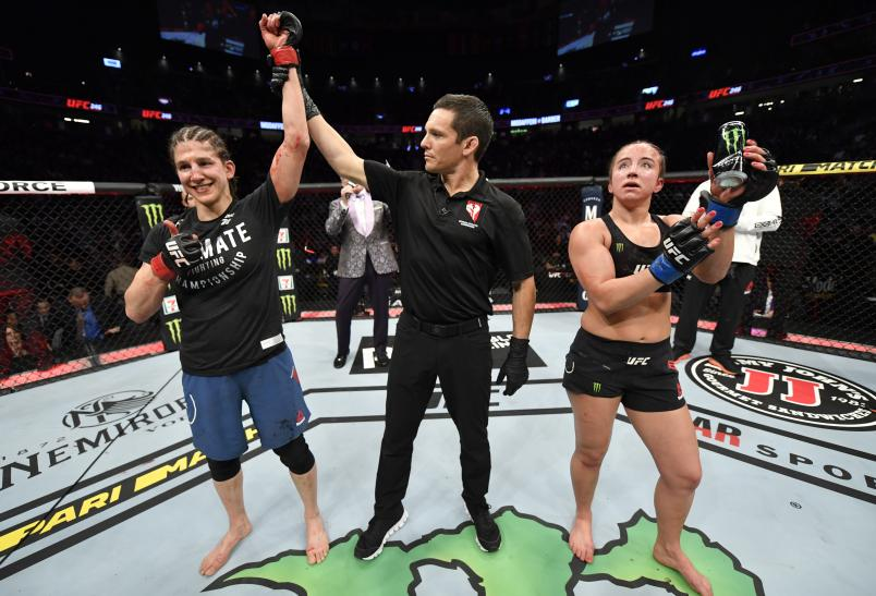 Roxanne Modafferi has her hand raised over Maycee Barber in their flyweight fight during the UFC 246 event at T-Mobile Arena on January 18, 2020 in Las Vegas, Nevada. (Photo by Jeff Bottari/Zuffa LLC via Getty Images)