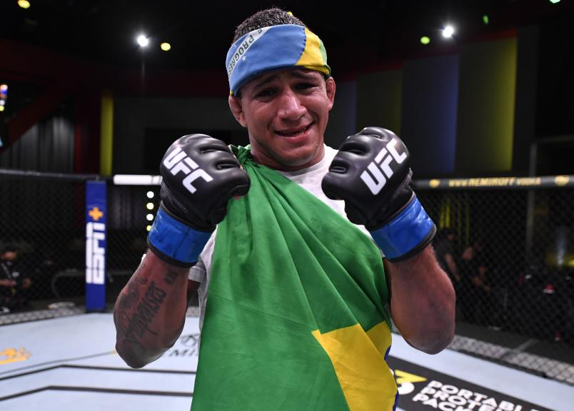Gilbert Burns of Brazil reacts after his victory over Tyron Woodley in their welterweight fight during the UFC Fight Night event at UFC APEX on May 30, 2020 in Las Vegas, Nevada. (Photo by Jeff Bottari/Zuffa LLC)