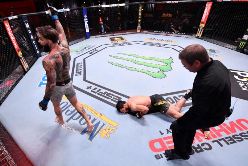 JUNE 06: Cody Garbrandt celebrates after his knockout victory over Raphael Assuncao of Brazil in their bantamweight bout during the UFC 250 event at UFC APEX on June 06, 2020 in Las Vegas, Nevada. (Photo by Jeff Bottari/Zuffa LLC)