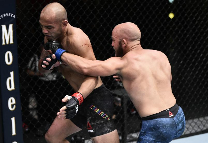 Justin Jaynes punches Frank Camacho in their lightweight bout during the UFC Fight Night event at UFC APEX on June 20, 2020 in Las Vegas, Nevada. (Photo by Chris Unger/Zuffa LLC)
