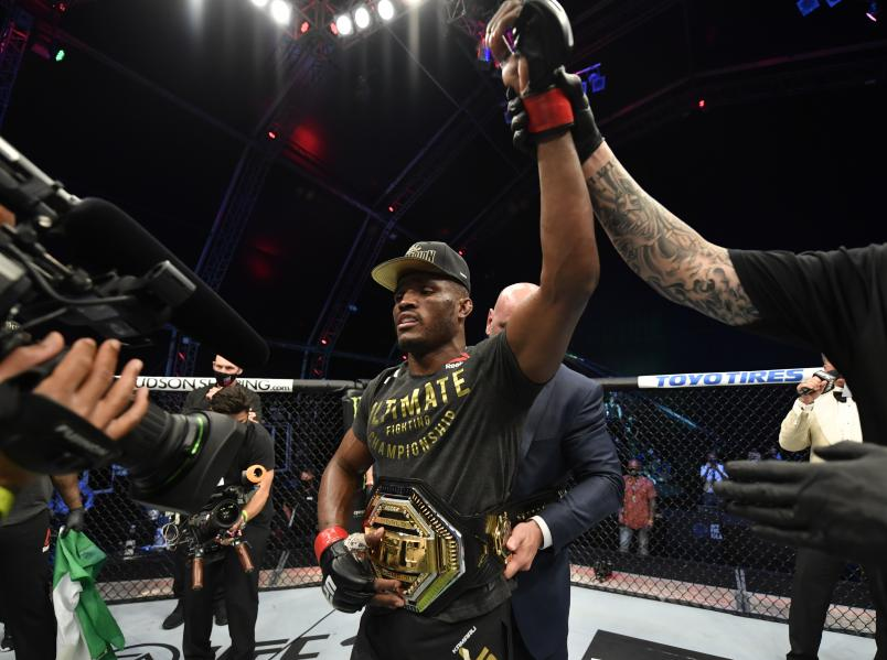 Kamaru Usman of Nigeria celebrates after his victory over Jorge Masvidal in their UFC welterweight championship fight during the UFC 251 event at Flash Forum on UFC Fight Island on July 12, 2020 on Yas Island, Abu Dhabi, United Arab Emirates. (Photo by Jeff Bottari/Zuffa LLC)