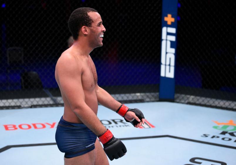 LAS VEGAS, NEVADA - AUGUST 04: Jordan Leavitt celebrates in their lightweight bout during Dana White's Contender Series season 4 week one at UFC APEX on August 04, 2020 in Las Vegas, Nevada. (Photo by Chris Unger/DWCS LLC)