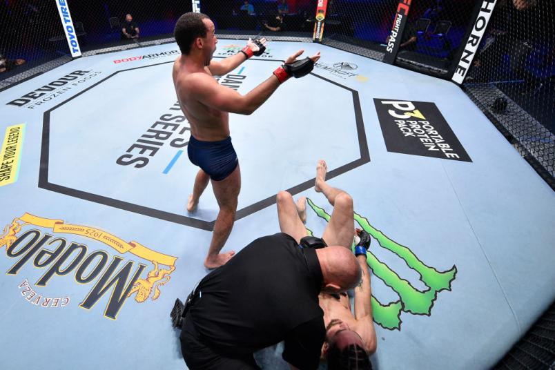 LAS VEGAS, NEVADA - AUGUST 04: Jordan Leavitt celebrates during Dana White's Contender Series season 4 week one at UFC APEX on August 04, 2020 in Las Vegas, Nevada. (Photo by Chris Unger/DWCS LLC)