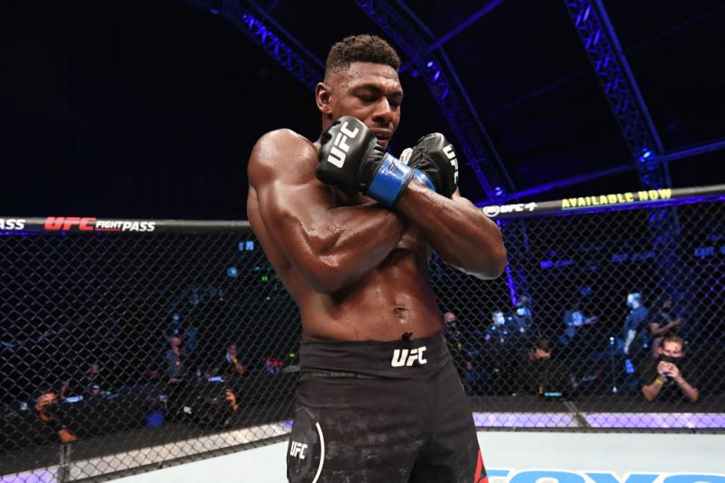 OCTOBER 11: Joaquin Buckley celebrates his KO victory over Impa Kasanganay in their middleweight bout during the UFC Fight Night event inside Flash Forum on UFC Fight Island on October 11, 2020 in Abu Dhabi. (Photo by Josh Hedges/Zuffa LLC)