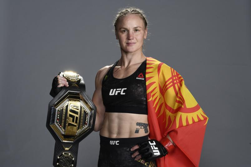 Valentina Shevchenko of Kyrgyzstan poses for a portrait backstage during the UFC 255 event at UFC APEX on November 21, 2020 in Las Vegas, Nevada. (Photo by Mike Roach/Zuffa LLC)