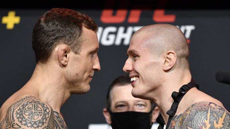 UFC Fight Night: Hermansson vs Vettori, Jack Hermansson and Marvin Vettori face off a the weigh-ins from the UFC Apex