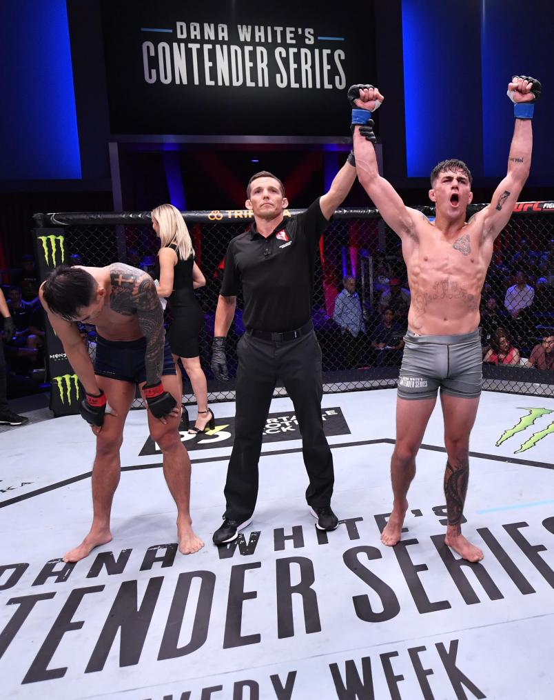 Peter Barrett celebrates after his decision victory over Sanghoon Yoo in their lightweight bout during Dana White's Contender Series season three week 10 at the UFC Apex on August 27, 2019 in Las Vegas, Nevada. (Photo by Jeff Bottari/DWCS LLC/Zuffa LLC)