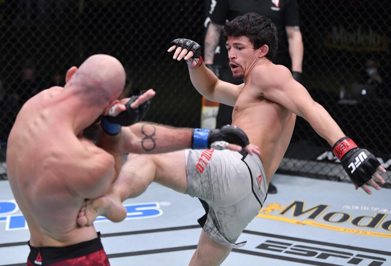 Billy Quarantillo kicks Kyle Nelson in a featherweight fight during the UFC Fight Night event at UFC APEX on September 12, 2020 in Las Vegas, Nevada. (Photo by Jeff Bottari/Zuffa LLC)