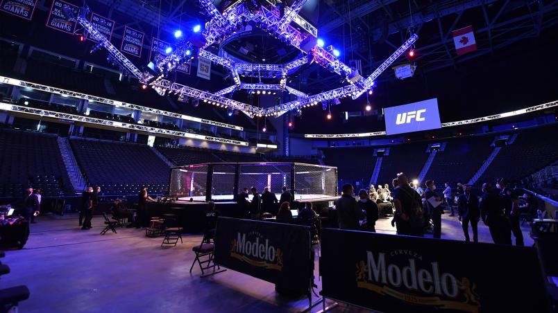 A general view of the Octagon during the UFC 249 event at VyStar Veterans Memorial Arena on May 09, 2020 in Jacksonville, Florida. (Photo by Jeff Bottari/Zuffa LLC)