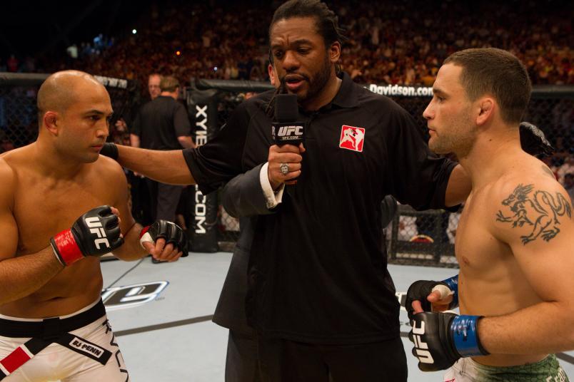 Frankie Edgar def. BJ Penn - Unanimous decision during UFC 112 at Yas Island on April 10, 2010 in Abu Dhabi, United Arab Emirates. (Photo by Josh Hedges/Zuffa LLC)