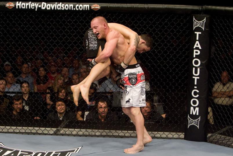 Gray Maynard (white shorts) def. Frankie Edgar (black shorts) - Unanimous Decision during the UFC Fight Night 13 at the Broomfield Event Center on April 2, 2008 in Broomfield, Colorado. (Photo by Josh Hedges/Zuffa LLC)