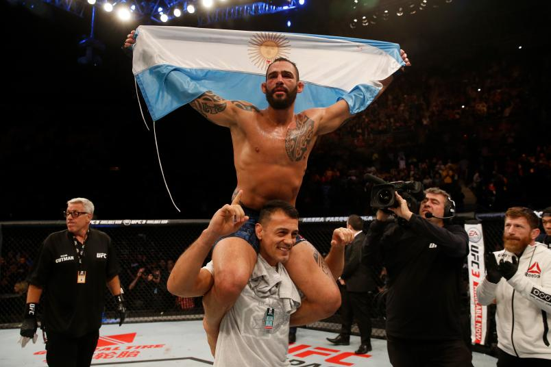 Santiago Ponzinibbio celebrates after defeating Neil Magny in their welterweight bout during the UFC Fight Night event inside Arena Parque Roca on November 17, 2018 in Buenos Aires, Argentina. (Photo by Alexandre Schneider/Zuffa LLC)