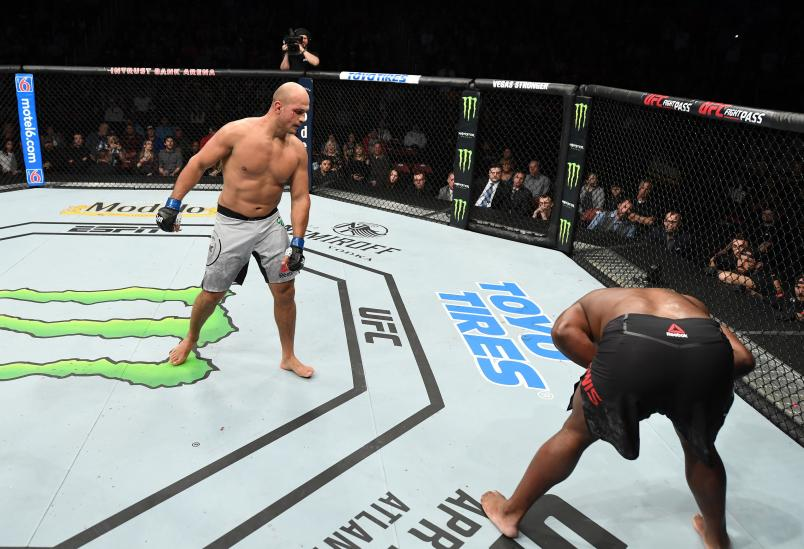 Junior Dos Santos of Brazil faces Derrick Lewis in their heavyweight bout during the UFC Fight Night event at Intrust Bank Arena on March 9, 2019 in Wichita, Kansas. (Photo by Josh Hedges/Zuffa LLC)
