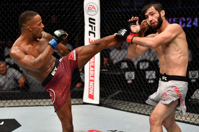 Lerone Murphy of United Kingdom kicks Zubaira Tukhugov of Russia in their featherweight bout during UFC 242 at The Arena on September 7, 2019 in Yas Island, Abu Dhabi, United Arab Emirates. (Photo by Jeff Bottari/Zuffa LLC)