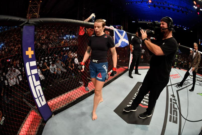 Joanne Calderwood of United Kingdom is introduced prior to her women's flyweight bout during UFC 242 at The Arena on September 7, 2019 in Yas Island, Abu Dhabi, United Arab Emirates. (Photo by Jeff Bottari/Zuffa LLC)