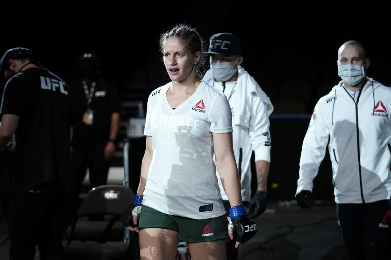 Sarah Moras of Canada walks to the Octagon prior to her women's bantamweight bout against Sijara Eubanks during the UFC Fight Night Event at VyStar Veterans Memorial Arena on May 13, 2020 in Jacksonville, Florida. (Photo by Cooper Neill/Zuffa LLC)