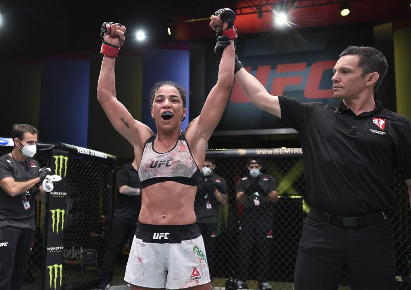 Viviane Araujo of Brazil reacts after her victory over Montana De La Rosa in a flyweight fight during the UFC Fight Night event at UFC APEX on September 05, 2020 in Las Vegas, Nevada. (Photo by Chris Unger/Zuffa LLC)