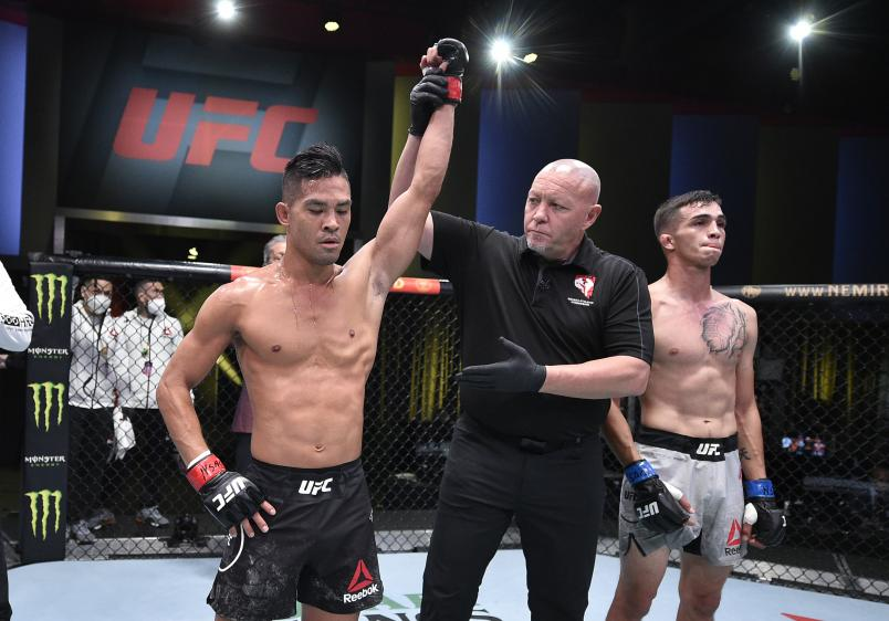Tyson Nam reacts after his knockout victory over Jerome Rivera in their bantamweight bout during the UFC Fight Night event at UFC APEX on September 19, 2020 in Las Vegas, Nevada. (Photo by Chris Unger/Zuffa LLC)