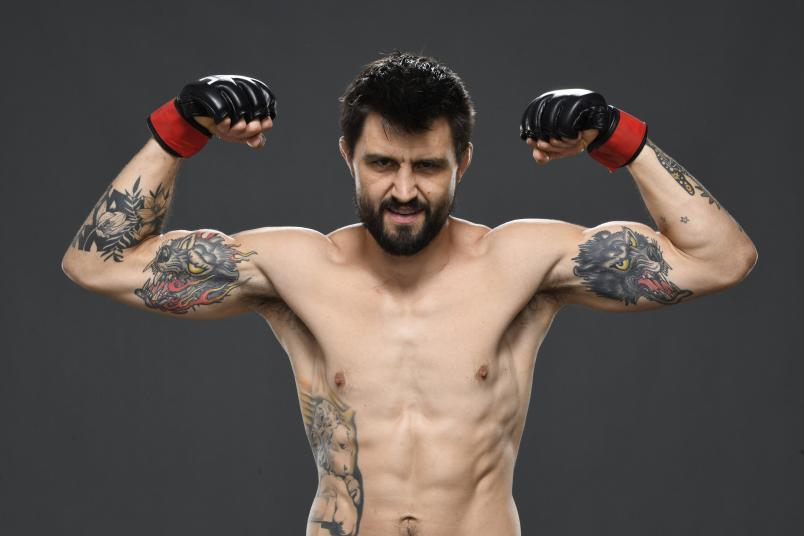 Carlos Condit poses for a post fight portrait backstage during the UFC Fight Night event inside Flash Forum on UFC Fight Island on October 04, 2020 in Abu Dhabi, United Arab Emirates. (Photo by Mike Roach/Zuffa LLC)