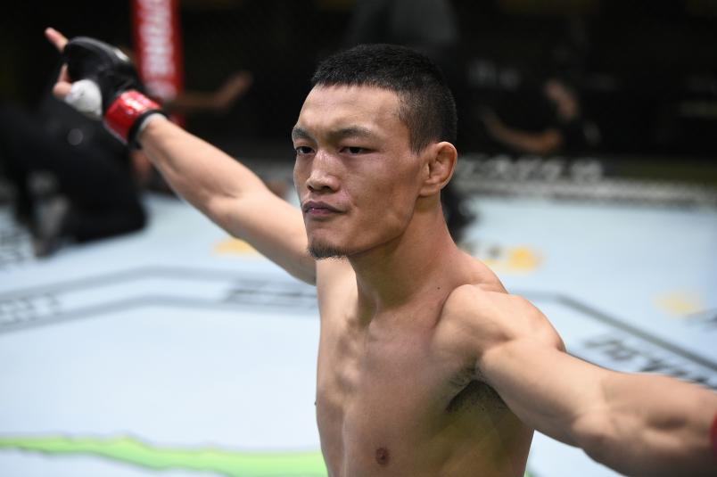 Su Mudaerji of Tibet reacts after defeating Malcolm Gordon in their flyweight bout during the UFC Fight Night at UFC APEX on November 28, 2020 in Las Vegas, Nevada. (Photo by Chris Unger/Zuffa LLC)