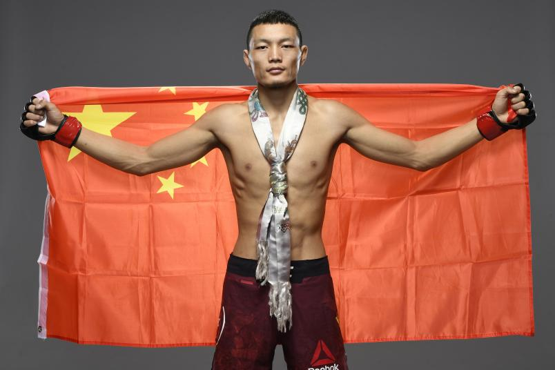 Su Mudaerji of Tibet poses for a post fight portrait backstage during the UFC Fight Night at UFC APEX on November 28, 2020 in Las Vegas, Nevada. (Photo by Mike Roach/Zuffa LLC)